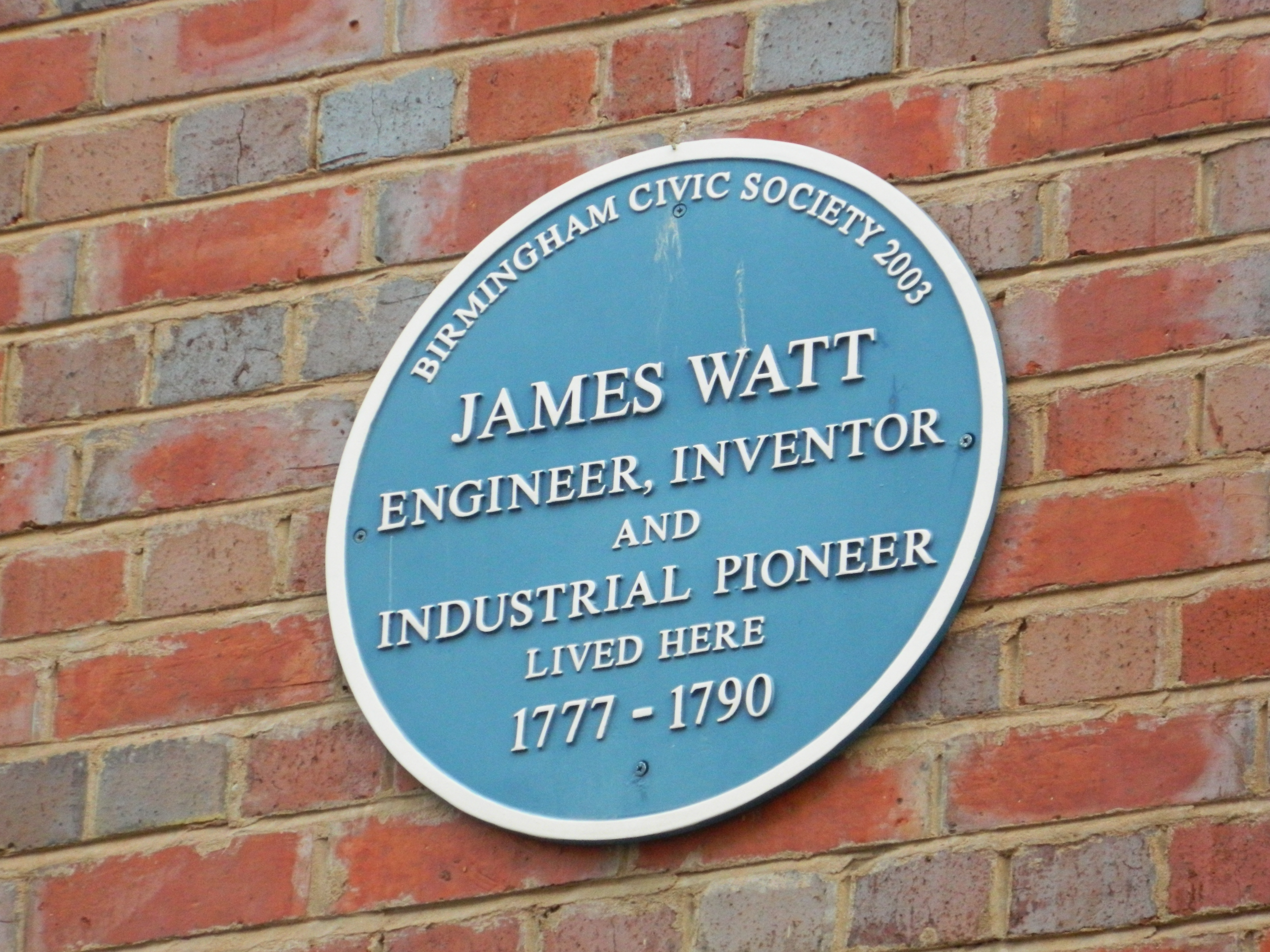 James Watt Blue Plaque Where He Once Lived in the Jewellery Quarter Birmingham