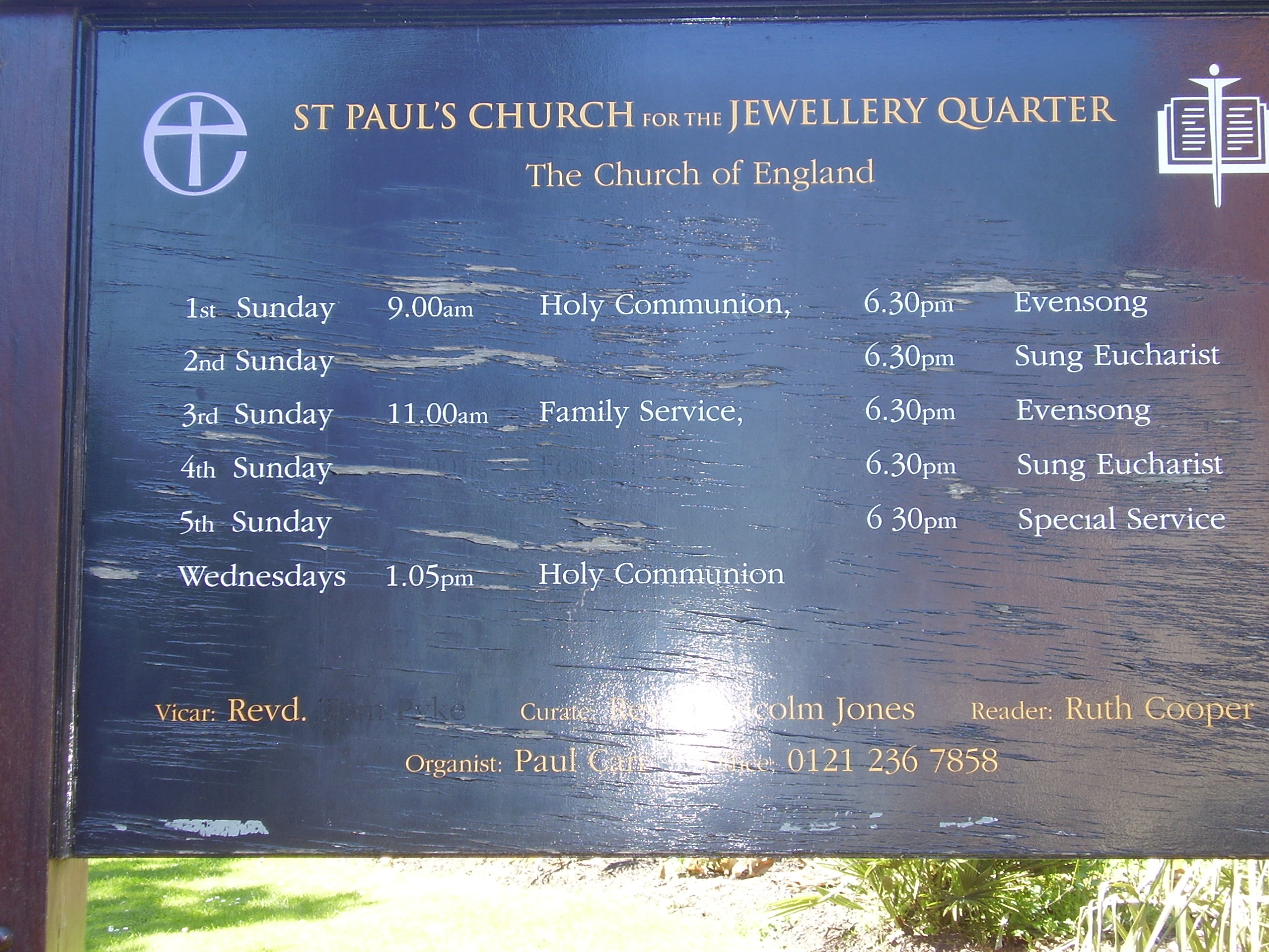 St Paul's Church Notice Board Grade 1 listed Built 1779  Jewellery Quarter Birmingham Photo 2008 Joseph Burke