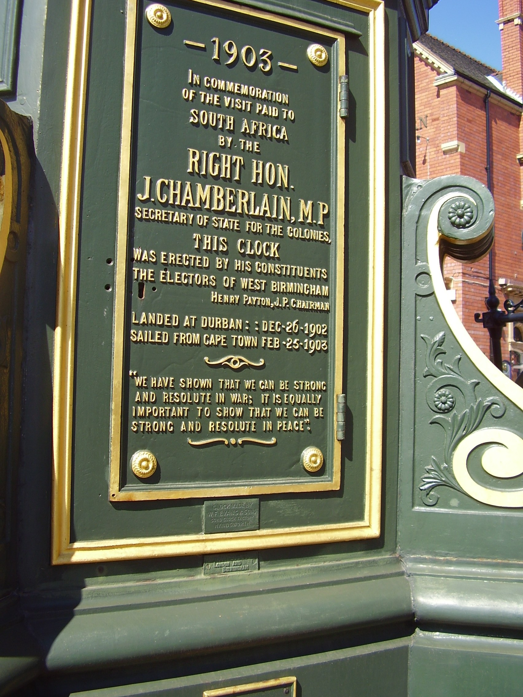 Chamberlain Clock Full Plaque Birmingham 2008