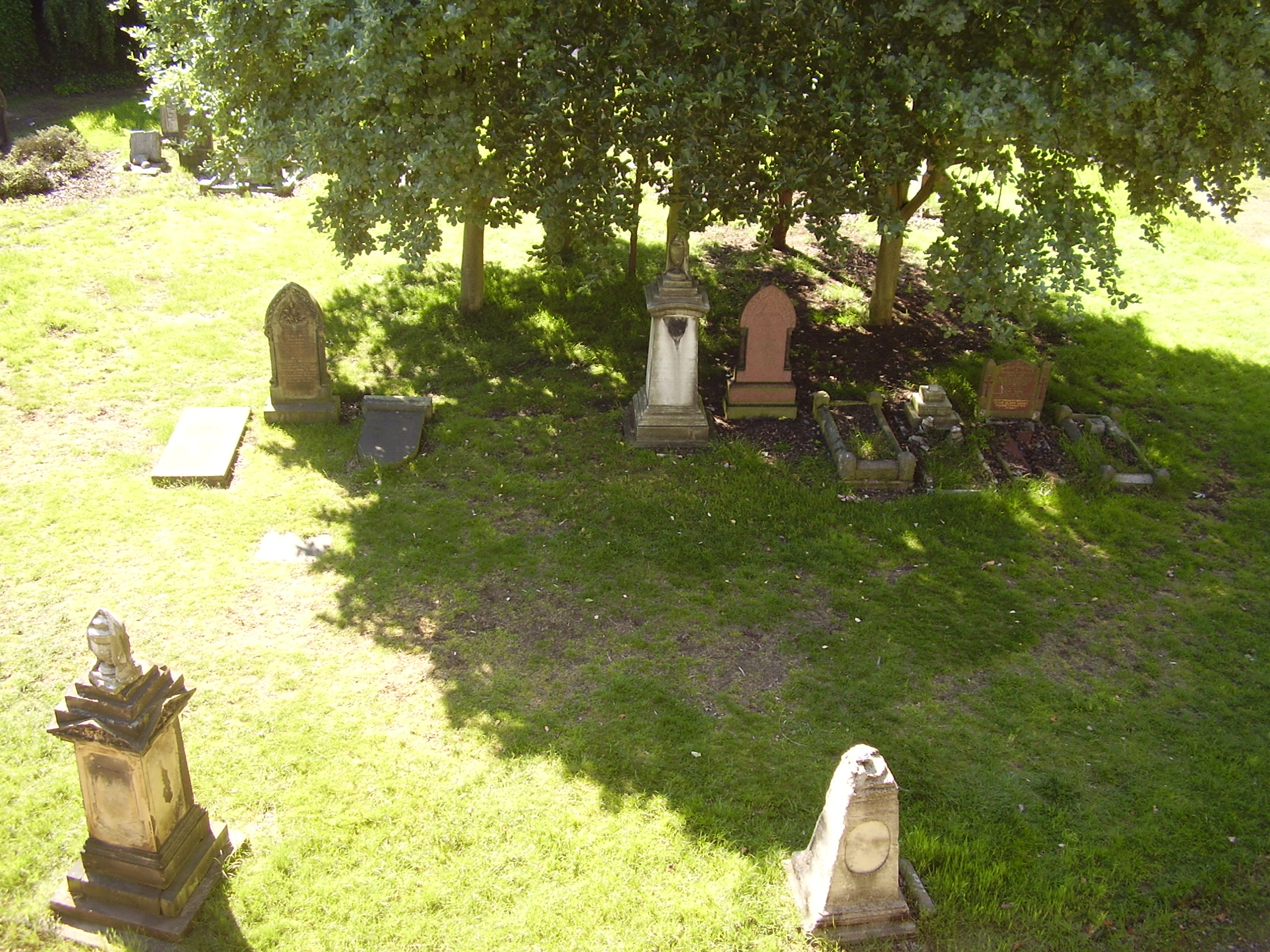 Photograph looking down from inside mint cemetery Jewellery Quarter Birmingham 2008