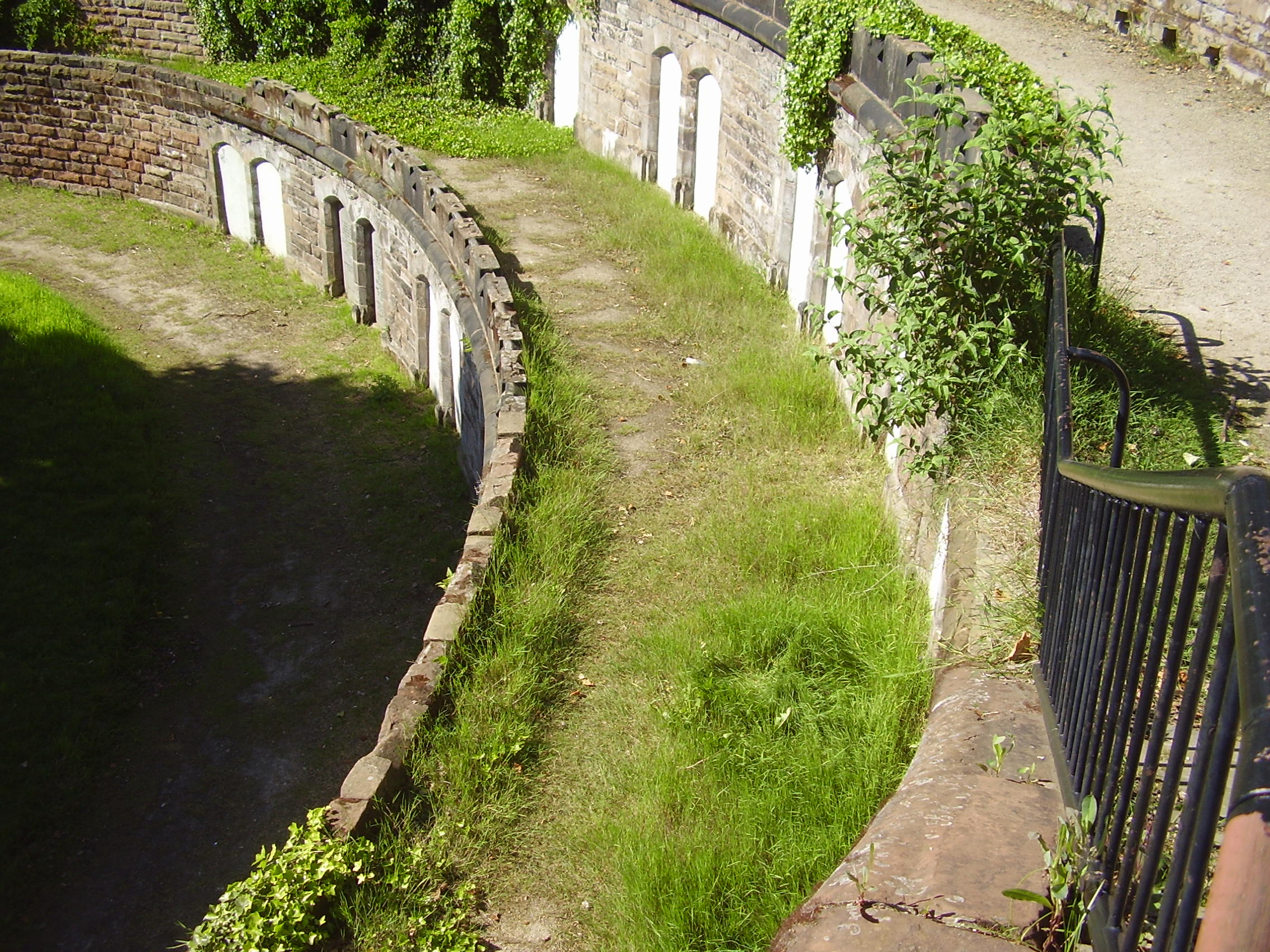 2008 Photograph looking down from inside mint cemetery Jewellery Quarter Birmingham