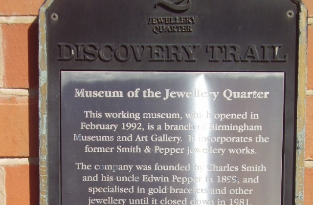 Museum of the Jewellery Quarter plaque 75-80 Vyse St, Birmingham B18 6HA, UK 2008